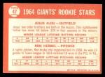 1964 Topps #47   -  Jesus Alou / Ron Herbel Giants Rookies Back Thumbnail