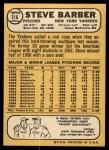 1968 Topps #316  Steve Barber  Back Thumbnail