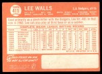 1964 Topps #411  Lee Walls  Back Thumbnail