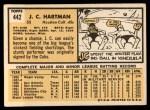 1963 Topps #442  J.C. Hartman  Back Thumbnail