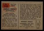 1954 Bowman #113  Charley Conerly  Back Thumbnail