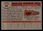 1956 Topps #59  Harlan Hill  Back Thumbnail
