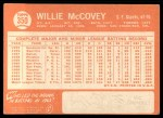 1964 Topps #350  Willie McCovey  Back Thumbnail
