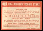 1964 Topps #14   -  Dick Nen / Nick Willhite Dodgers Rookies Back Thumbnail