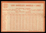 1964 Topps #213   Angels Team Back Thumbnail