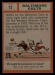 1962 Topps #12   Colts Team Back Thumbnail