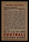 1951 Bowman #121  George Gulyanics  Back Thumbnail