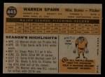 1960 Topps #445  Warren Spahn  Back Thumbnail