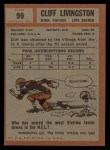 1962 Topps #99  Cliff Livingston  Back Thumbnail