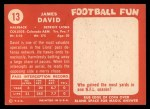 1958 Topps #13  Jim David  Back Thumbnail