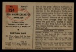 1954 Bowman #124  Bob Hoernschemeyer  Back Thumbnail