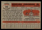 1956 Topps #31  Howard Ferguson  Back Thumbnail
