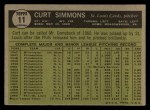 1961 Topps #11 xBRE Curt Simmons  Back Thumbnail