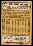 1968 Topps #55  Felipe Alou  Back Thumbnail
