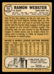 1968 Topps #164  Ramon Webster  Back Thumbnail