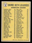 1970 Topps #66   -  Frank Howard / Reggie Jackson / Harmon Killebrew AL HR Leaders Back Thumbnail