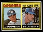 1967 Topps #12   -  Jim Campanis / Bill Singer Dodgers Rookies Front Thumbnail
