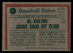 1975 Topps #4   -  Al Kaline Kaline Joins 3000 Hit Club Back Thumbnail