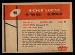 1960 Fleer #96  Richie Lucas  Back Thumbnail