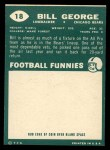 1960 Topps #18  Bill George  Back Thumbnail