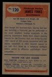 1955 Bowman #120  James Finks  Back Thumbnail