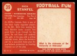 1958 Topps #39  Dick Stanfel  Back Thumbnail