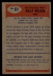 1955 Bowman #81  Billy Wilson  Back Thumbnail