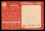 1958 Topps #17  Ray Renfro  Back Thumbnail