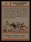 1962 Topps #12   Colts Team Back Thumbnail