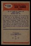 1955 Bowman #131  Dave Hanner  Back Thumbnail
