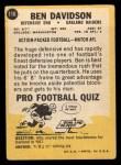 1967 Topps #116  Ben Davidson  Back Thumbnail