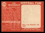 1958 Topps #126  Tom McDonald  Back Thumbnail