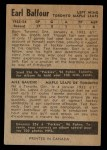 1954 Parkhurst #25  Earl Balfour  Back Thumbnail