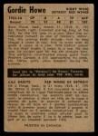 1954 Parkhurst #41  Gordie Howe  Back Thumbnail
