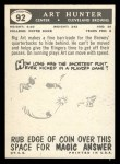 1959 Topps #92  Art Hunter  Back Thumbnail