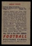 1951 Bowman #127  Eddie Price  Back Thumbnail