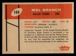 1960 Fleer #100  Mel Branch  Back Thumbnail