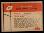 1960 Fleer #29  Bob Fee  Back Thumbnail