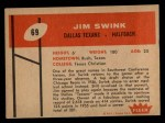 1960 Fleer #69  Jim Swink  Back Thumbnail