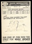 1959 Topps #113  Dave Middleton  Back Thumbnail