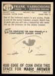 1959 Topps #119  Frank Varrichione  Back Thumbnail
