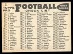 1959 Topps #3   Lions Team Checklist Back Thumbnail