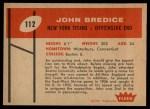 1960 Fleer #112  John Bredice  Back Thumbnail