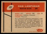 1960 Fleer #127  Dan Lanphear  Back Thumbnail