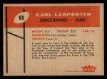 1960 Fleer #60  Carl Larpenter  Back Thumbnail