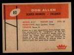 1960 Fleer #82  Dan Allen  Back Thumbnail