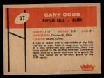 1960 Fleer #37  Gary Cobb  Back Thumbnail