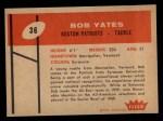 1960 Fleer #36  Bob Yates  Back Thumbnail