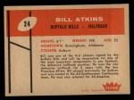 1960 Fleer #24  Bill Atkins  Back Thumbnail