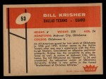 1960 Fleer #53  Bill Krisher  Back Thumbnail